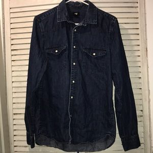 h&m denim button down